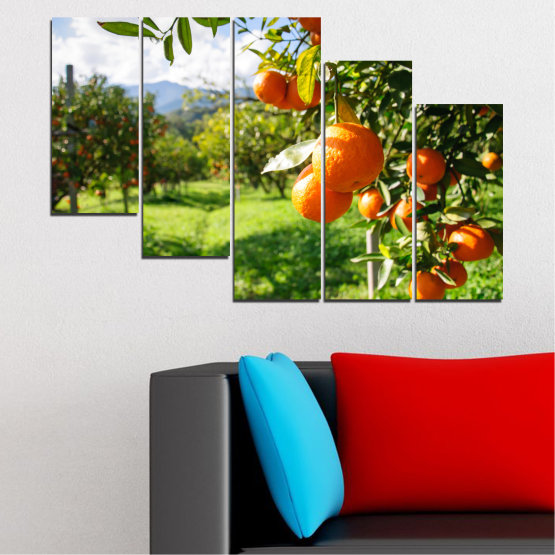 Canvas prints & wall decorative panels - 5 pieces №0161 » Green, Orange, Black, White » Nature, Garden, Fruits Form #7