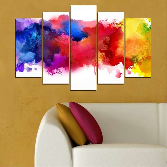 Canvas prints & wall decorative panels - 5 pieces №0162 » Red, Blue, Yellow, White » Abstraction, Colorful, Smoke Form #1
