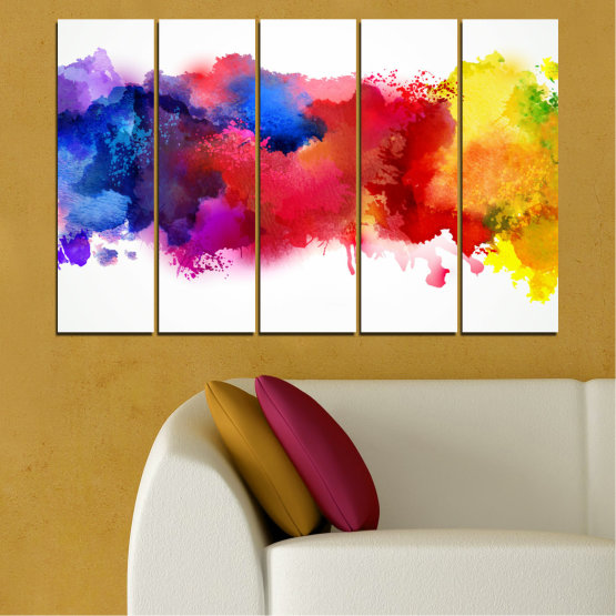 Canvas prints & wall decorative panels - 5 pieces №0162 » Red, Blue, Yellow, White » Abstraction, Colorful, Smoke Form #2