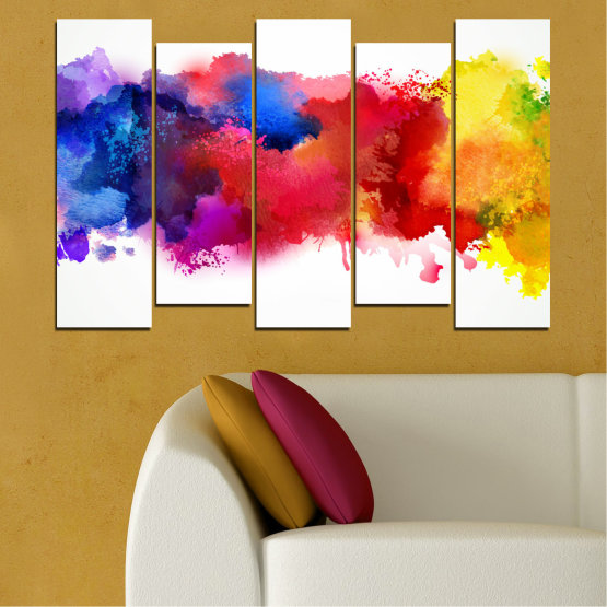 Canvas prints & wall decorative panels - 5 pieces №0162 » Red, Blue, Yellow, White » Abstraction, Colorful, Smoke Form #3