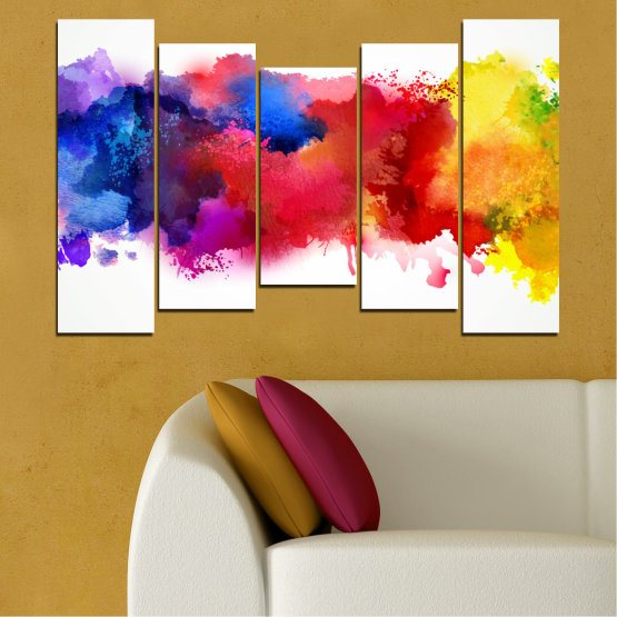 Canvas prints & wall decorative panels - 5 pieces №0162 » Red, Blue, Yellow, White » Abstraction, Colorful, Smoke Form #4