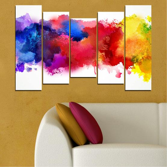 Декоративни панели и картини от канава - от 5 части №0162 » Червен, Син, Жълт, Бял » Абстракция, Цветен, Пушек Form #4