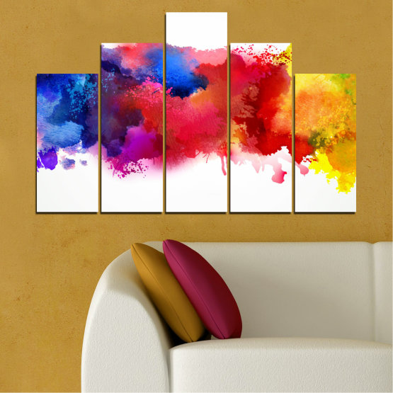 Canvas prints & wall decorative panels - 5 pieces №0162 » Red, Blue, Yellow, White » Abstraction, Colorful, Smoke Form #5