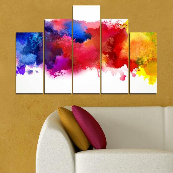 Декоративни панели и картини от канава - от 5 части №0162 » Червен, Син, Жълт, Бял » Абстракция, Цветен, Пушек Form #5
