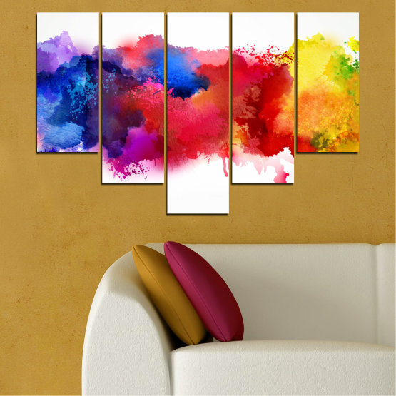 Canvas prints & wall decorative panels - 5 pieces №0162 » Red, Blue, Yellow, White » Abstraction, Colorful, Smoke Form #6