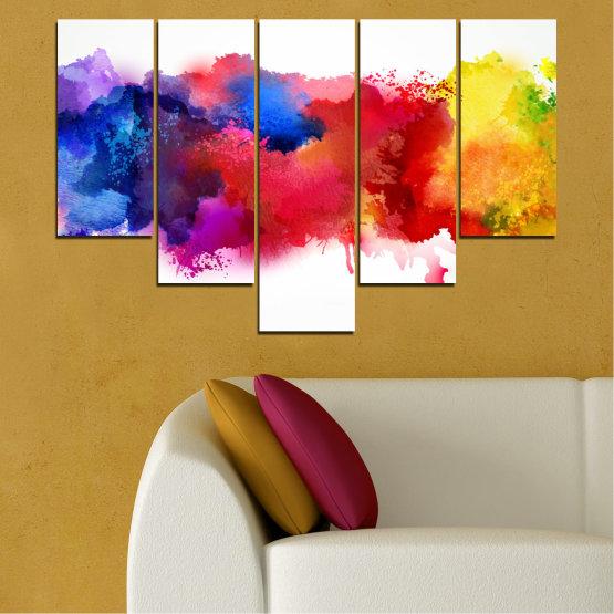 Декоративни панели и картини от канава - от 5 части №0162 » Червен, Син, Жълт, Бял » Абстракция, Цветен, Пушек Form #6