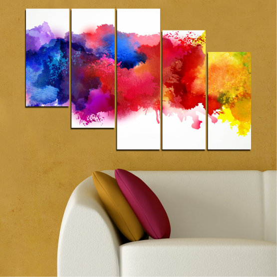 Canvas prints & wall decorative panels - 5 pieces №0162 » Red, Blue, Yellow, White » Abstraction, Colorful, Smoke Form #7