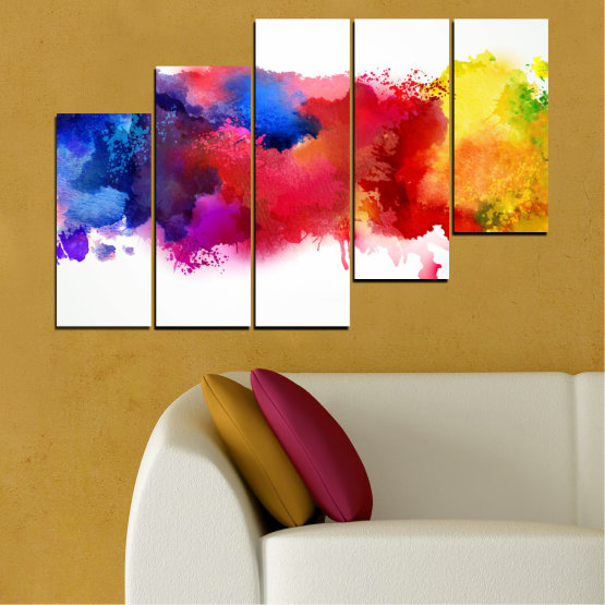 Canvas prints & wall decorative panels - 5 pieces №0162 » Red, Blue, Yellow, White » Abstraction, Colorful, Smoke Form #8