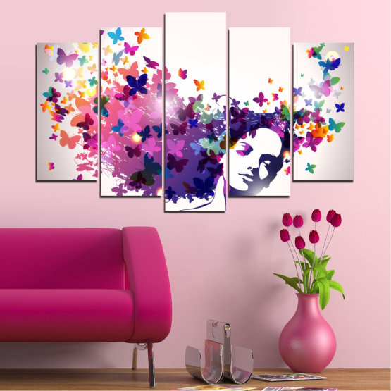 Canvas prints & wall decorative panels - 5 pieces №0164 » Pink, Gray, White, Dark grey » Abstraction, Woman, Butterfly, Fashion Form #1