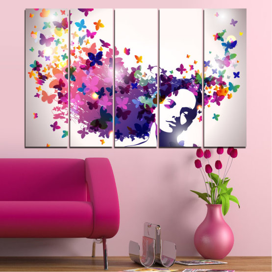 Canvas prints & wall decorative panels - 5 pieces №0164 » Pink, Gray, White, Dark grey » Abstraction, Woman, Butterfly, Fashion Form #2