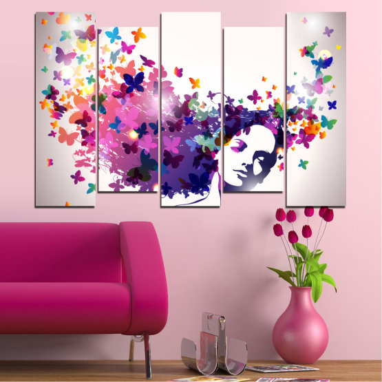 Canvas prints & wall decorative panels - 5 pieces №0164 » Pink, Gray, White, Dark grey » Abstraction, Woman, Butterfly, Fashion Form #3