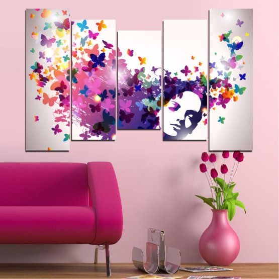 Canvas prints & wall decorative panels - 5 pieces №0164 » Pink, Gray, White, Dark grey » Abstraction, Woman, Butterfly, Fashion Form #4