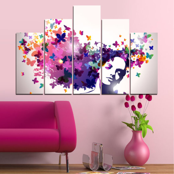 Canvas prints & wall decorative panels - 5 pieces №0164 » Pink, Gray, White, Dark grey » Abstraction, Woman, Butterfly, Fashion Form #5
