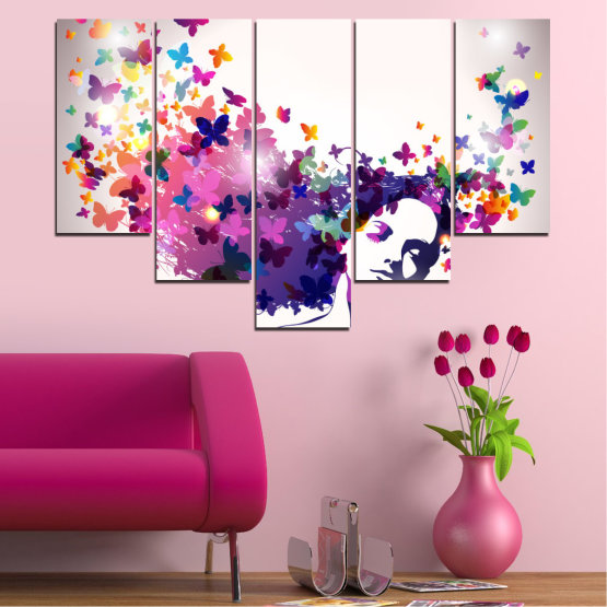 Canvas prints & wall decorative panels - 5 pieces №0164 » Pink, Gray, White, Dark grey » Abstraction, Woman, Butterfly, Fashion Form #6