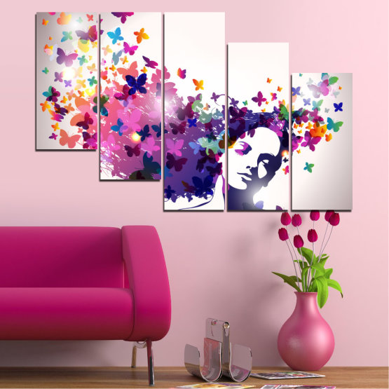 Canvas prints & wall decorative panels - 5 pieces №0164 » Pink, Gray, White, Dark grey » Abstraction, Woman, Butterfly, Fashion Form #7