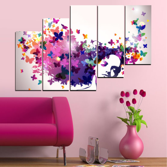 Canvas prints & wall decorative panels - 5 pieces №0164 » Pink, Gray, White, Dark grey » Abstraction, Woman, Butterfly, Fashion Form #8