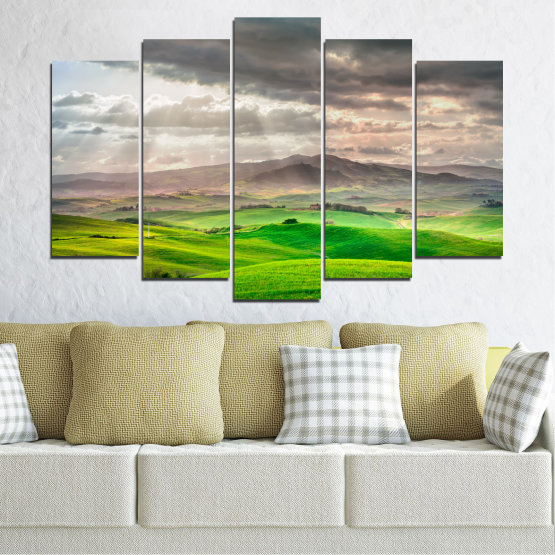 Canvas prints & wall decorative panels - 5 pieces №0166 » Green, Gray, Beige, Dark grey » Nature, Landscape, Mountain, Meadow, Cloud, Field Form #1