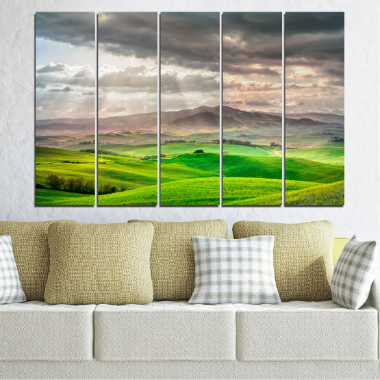 Canvas prints & wall decorative panels - 5 pieces №0166 » Green, Gray, Beige, Dark grey » Nature, Landscape, Mountain, Meadow, Cloud, Field Form #2