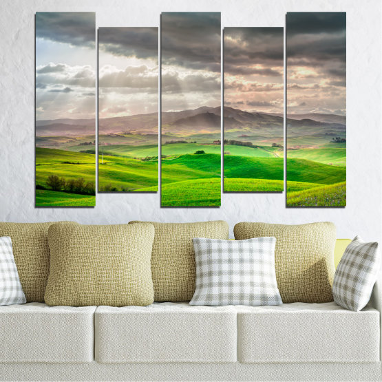 Canvas prints & wall decorative panels - 5 pieces №0166 » Green, Gray, Beige, Dark grey » Nature, Landscape, Mountain, Meadow, Cloud, Field Form #3