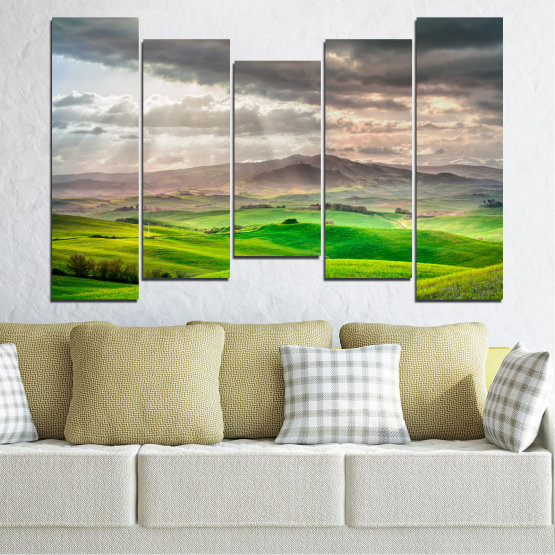 Canvas prints & wall decorative panels - 5 pieces №0166 » Green, Gray, Beige, Dark grey » Nature, Landscape, Mountain, Meadow, Cloud, Field Form #4