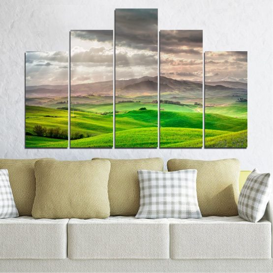 Canvas prints & wall decorative panels - 5 pieces №0166 » Green, Gray, Beige, Dark grey » Nature, Landscape, Mountain, Meadow, Cloud, Field Form #5