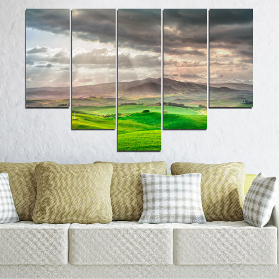 Canvas prints & wall decorative panels - 5 pieces №0166 » Green, Gray, Beige, Dark grey » Nature, Landscape, Mountain, Meadow, Cloud, Field Form #6