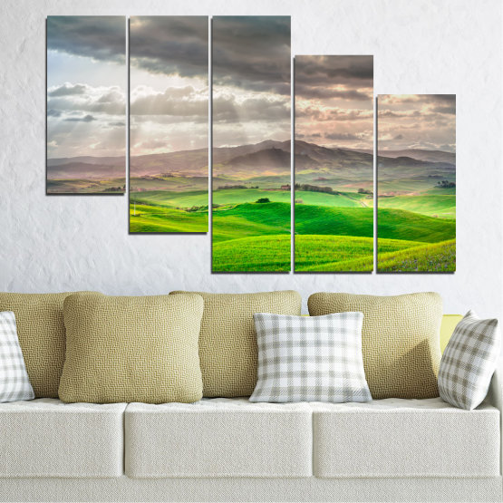 Canvas prints & wall decorative panels - 5 pieces №0166 » Green, Gray, Beige, Dark grey » Nature, Landscape, Mountain, Meadow, Cloud, Field Form #7