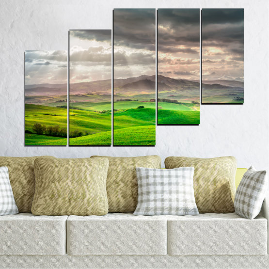 Canvas prints & wall decorative panels - 5 pieces №0166 » Green, Gray, Beige, Dark grey » Nature, Landscape, Mountain, Meadow, Cloud, Field Form #8