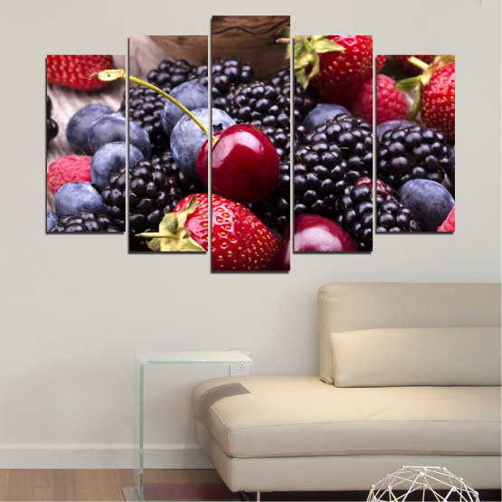 Canvas prints & wall decorative panels - 5 pieces №0167 » Red, Purple, Blue, Brown, Black, Gray, Dark grey » Culinary, Fruits, Strawberries, Cherries, Blueberries Form #1