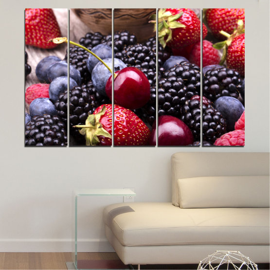 Canvas prints & wall decorative panels - 5 pieces №0167 » Red, Purple, Blue, Brown, Black, Gray, Dark grey » Culinary, Fruits, Strawberries, Cherries, Blueberries Form #2