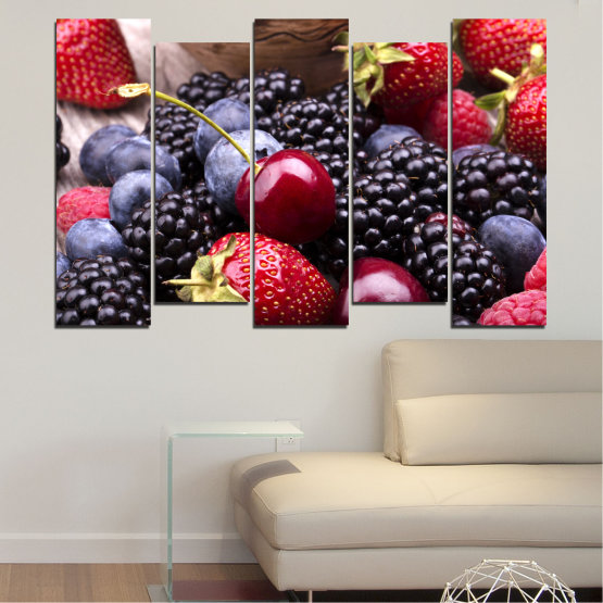 Canvas prints & wall decorative panels - 5 pieces №0167 » Red, Purple, Blue, Brown, Black, Gray, Dark grey » Culinary, Fruits, Strawberries, Cherries, Blueberries Form #3