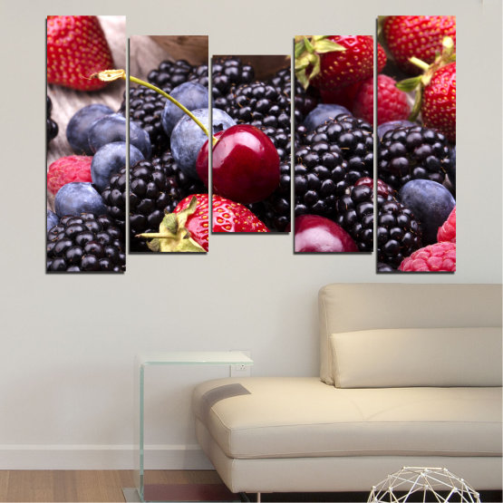 Canvas prints & wall decorative panels - 5 pieces №0167 » Red, Purple, Blue, Brown, Black, Gray, Dark grey » Culinary, Fruits, Strawberries, Cherries, Blueberries Form #4