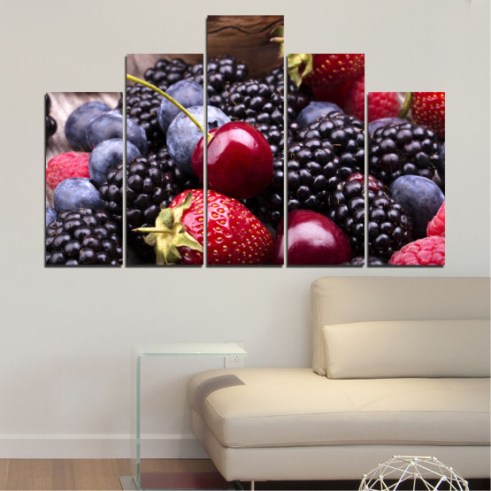 Canvas prints & wall decorative panels - 5 pieces №0167 » Red, Purple, Blue, Brown, Black, Gray, Dark grey » Culinary, Fruits, Strawberries, Cherries, Blueberries Form #5