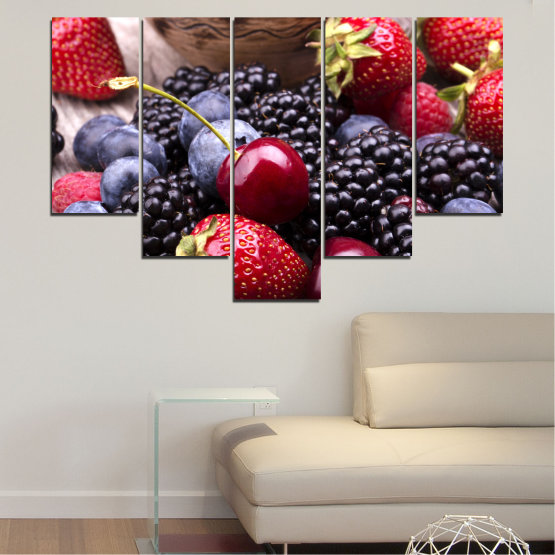 Canvas prints & wall decorative panels - 5 pieces №0167 » Red, Purple, Blue, Brown, Black, Gray, Dark grey » Culinary, Fruits, Strawberries, Cherries, Blueberries Form #6