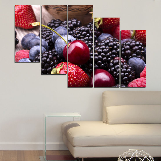 Canvas prints & wall decorative panels - 5 pieces №0167 » Red, Purple, Blue, Brown, Black, Gray, Dark grey » Culinary, Fruits, Strawberries, Cherries, Blueberries Form #7