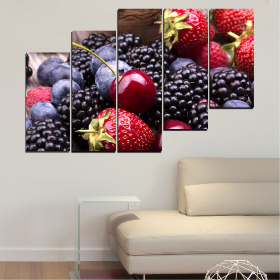 Canvas prints & wall decorative panels - 5 pieces №0167 » Red, Purple, Blue, Brown, Black, Gray, Dark grey » Culinary, Fruits, Strawberries, Cherries, Blueberries Form #8