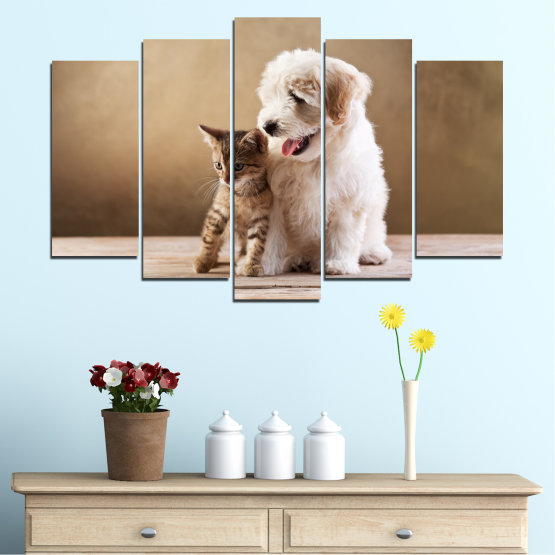 Canvas prints & wall decorative panels - 5 pieces №0168 » Brown, Gray, Beige » Animal, Dog, Cat Form #1