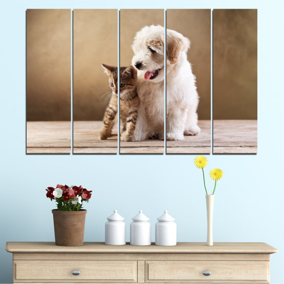 Canvas prints & wall decorative panels - 5 pieces №0168 » Brown, Gray, Beige » Animal, Dog, Cat Form #2