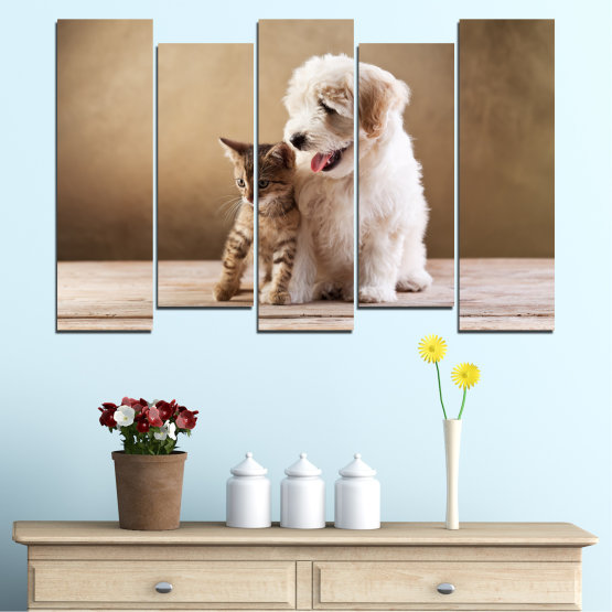 Canvas prints & wall decorative panels - 5 pieces №0168 » Brown, Gray, Beige » Animal, Dog, Cat Form #3