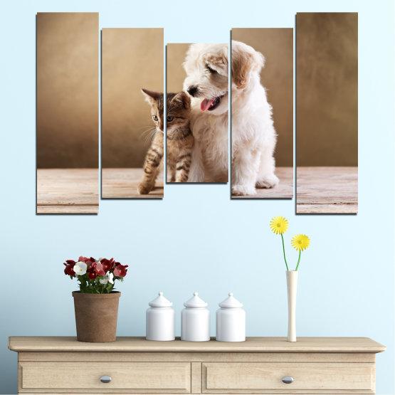 Декоративни панели и картини от канава - от 5 части №0168 » Кафяв, Сив, Бежов » Животни, Куче, Котка Form #4