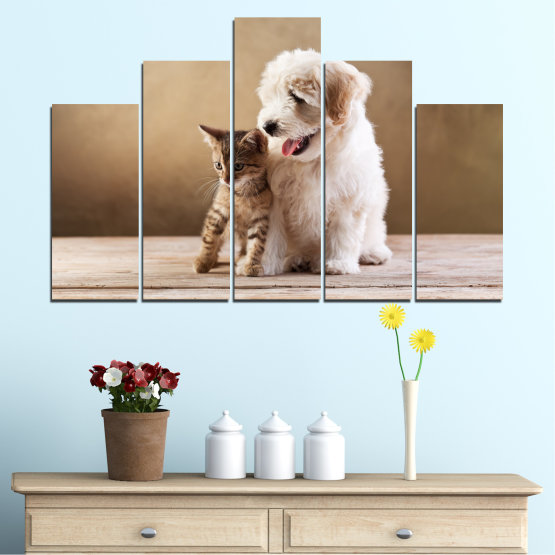 Canvas prints & wall decorative panels - 5 pieces №0168 » Brown, Gray, Beige » Animal, Dog, Cat Form #5