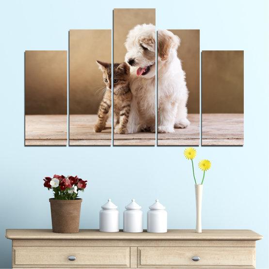 Декоративни панели и картини от канава - от 5 части №0168 » Кафяв, Сив, Бежов » Животни, Куче, Котка Form #5