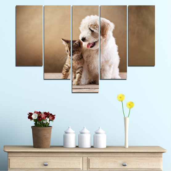 Canvas prints & wall decorative panels - 5 pieces №0168 » Brown, Gray, Beige » Animal, Dog, Cat Form #6