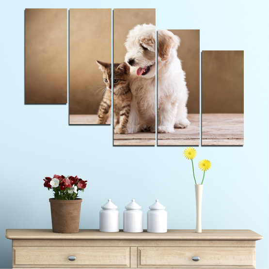 Canvas prints & wall decorative panels - 5 pieces №0168 » Brown, Gray, Beige » Animal, Dog, Cat Form #7