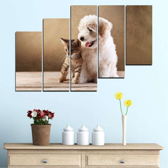 Декоративни панели и картини от канава - от 5 части №0168 » Кафяв, Сив, Бежов » Животни, Куче, Котка Form #8