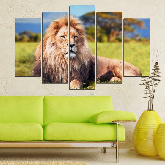 Canvas prints & wall decorative panels - 5 pieces №0169 » Blue, Green, Yellow, Brown, Gray, Beige, Dark grey » Nature, Animal, Lion Form #1