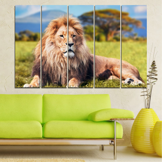 Canvas prints & wall decorative panels - 5 pieces №0169 » Blue, Green, Yellow, Brown, Gray, Beige, Dark grey » Nature, Animal, Lion Form #2