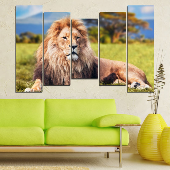 Canvas prints & wall decorative panels - 5 pieces №0169 » Blue, Green, Yellow, Brown, Gray, Beige, Dark grey » Nature, Animal, Lion Form #4