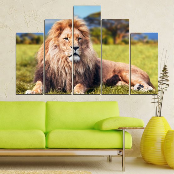 Canvas prints & wall decorative panels - 5 pieces №0169 » Blue, Green, Yellow, Brown, Gray, Beige, Dark grey » Nature, Animal, Lion Form #5