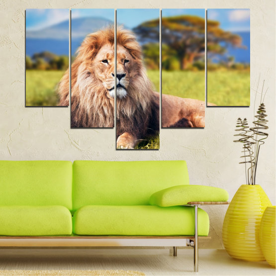 Canvas prints & wall decorative panels - 5 pieces №0169 » Blue, Green, Yellow, Brown, Gray, Beige, Dark grey » Nature, Animal, Lion Form #6